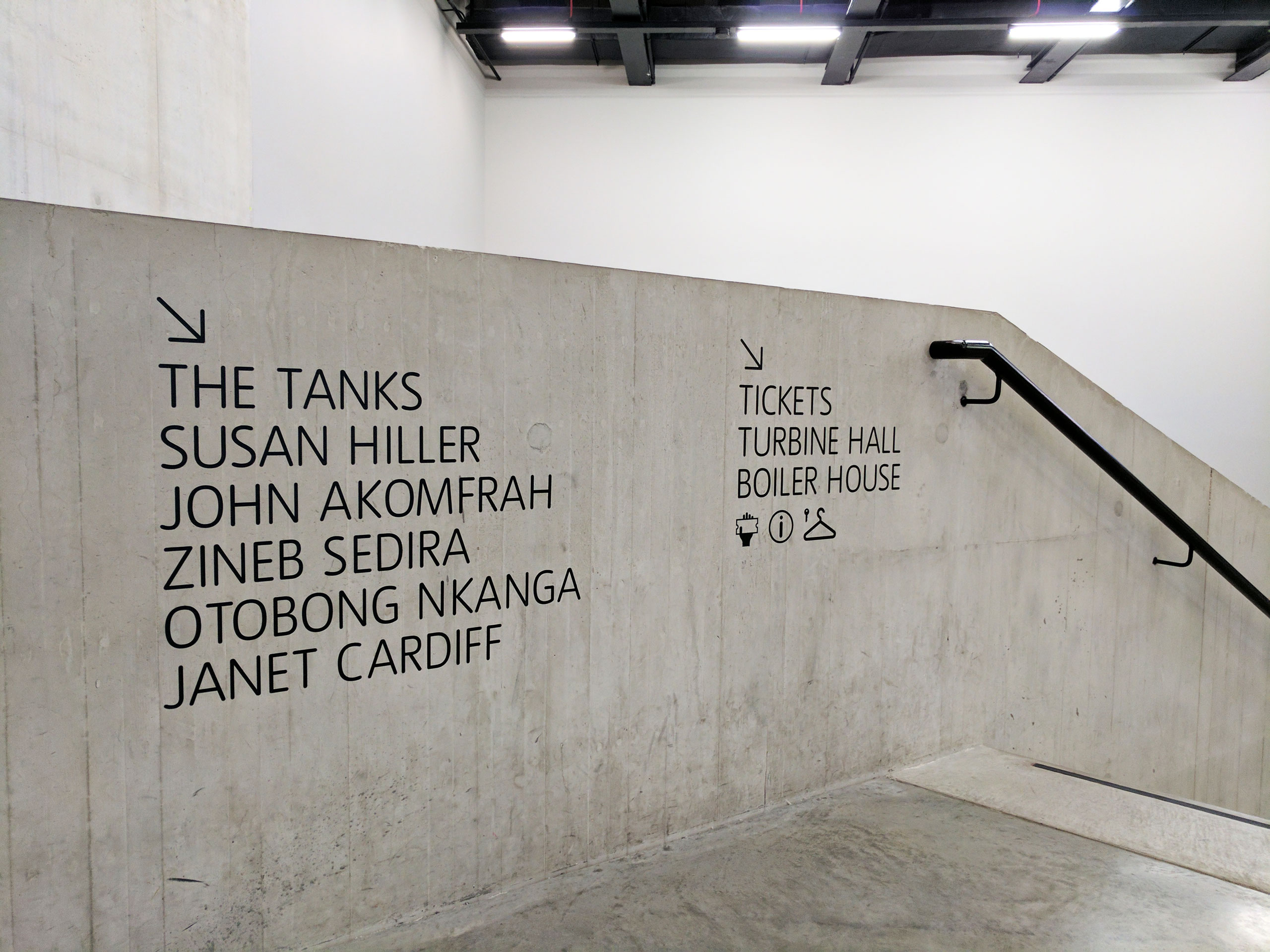 concrete stairway with wayfinding.