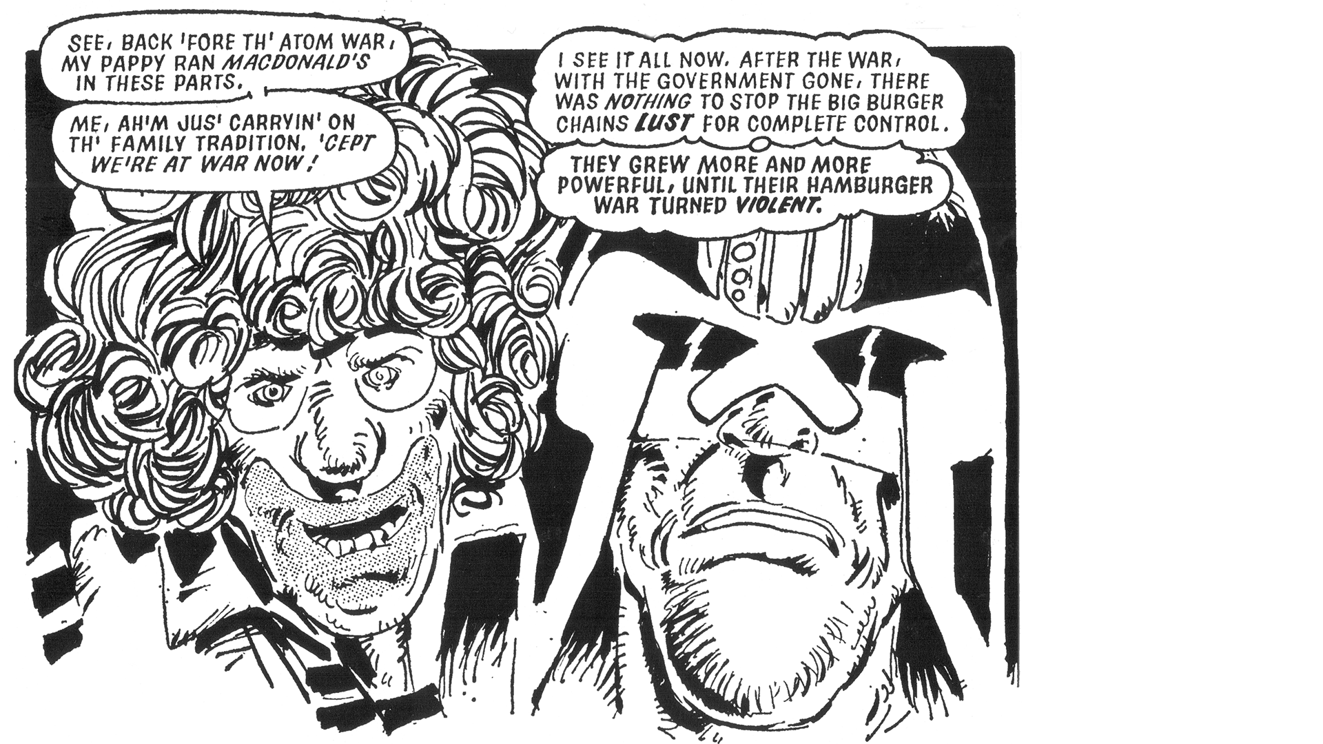 black and white comic book panel of two men