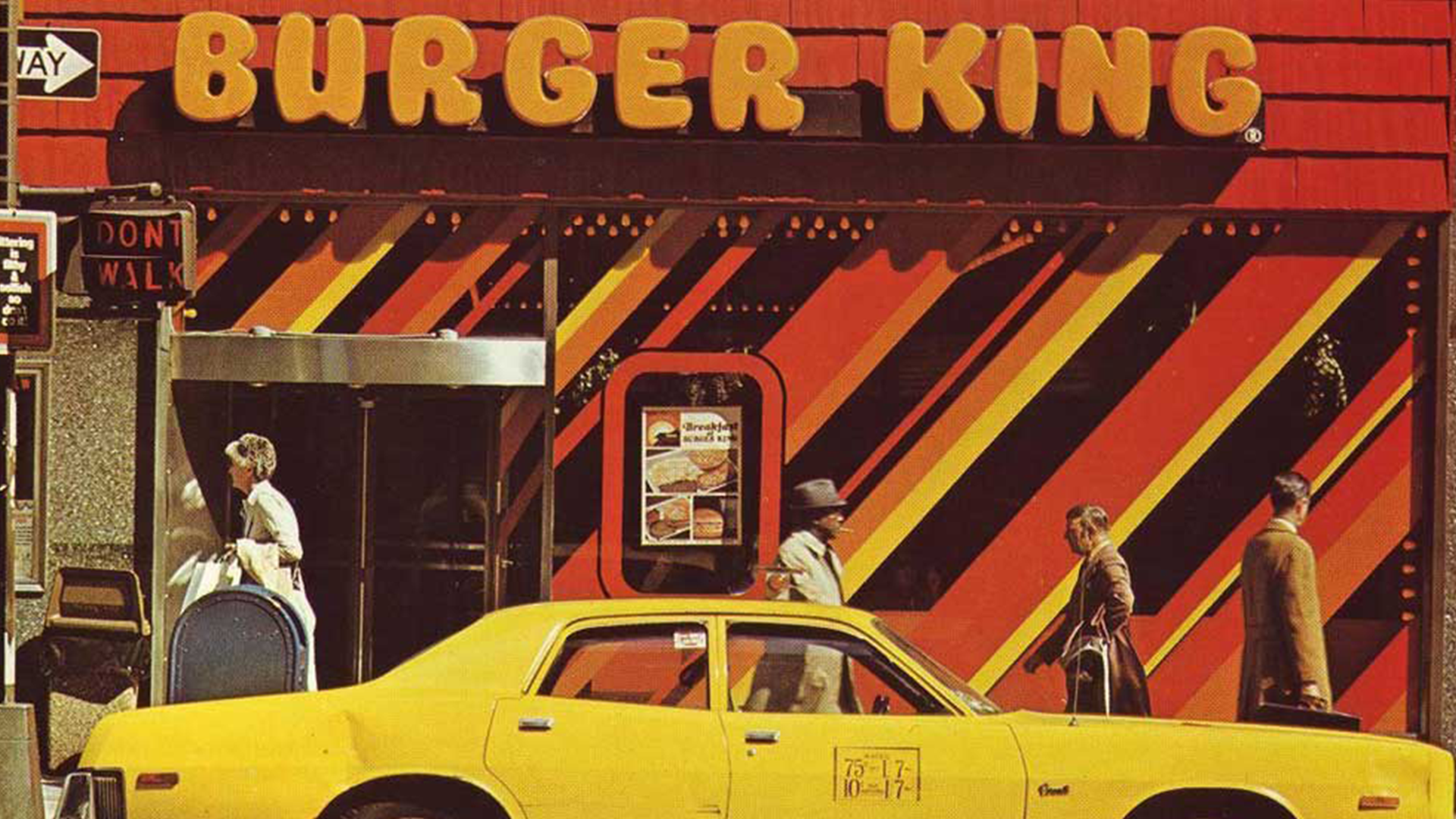 yellowy orange Burger King exterior in 1970s