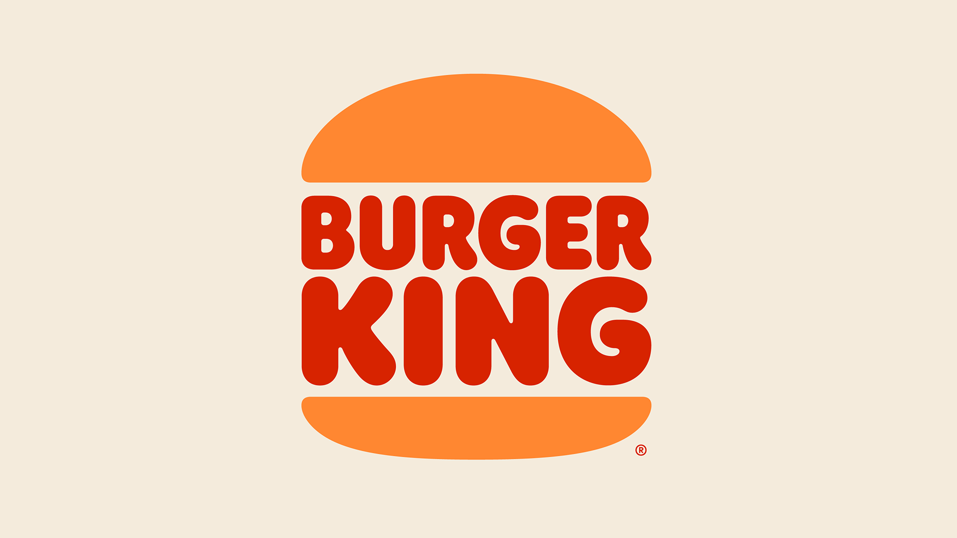 "The words ""Burger King"" graphically between a bun"