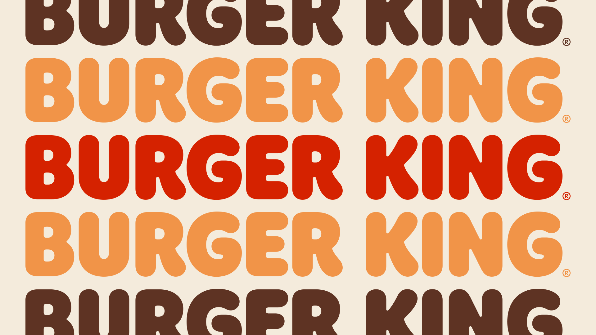 The words Burger King repeated in orange shades